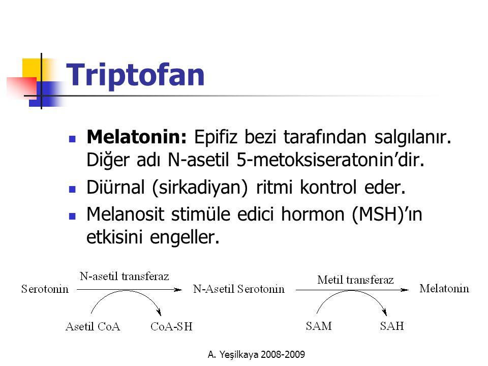 A.Yeşilkaya 2008-2009 Triptofan  Melatonin: Epifiz bezi tarafından salgılanır.