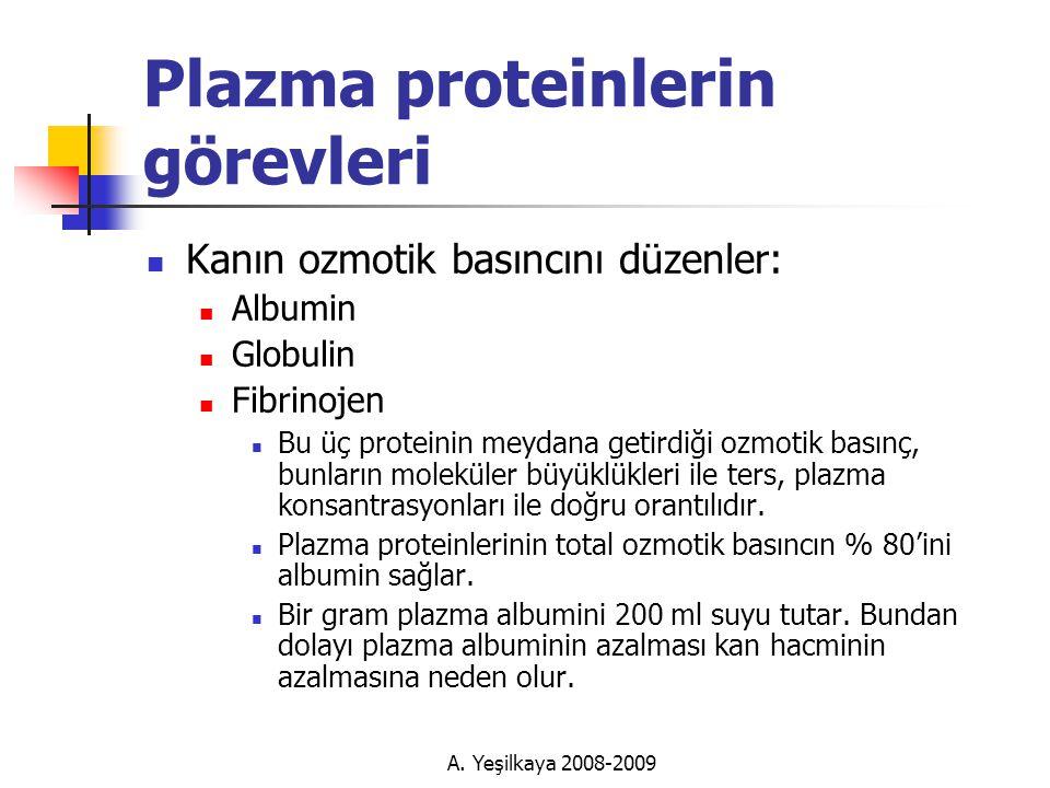 Plazma proteinlerin görevleri  Kanın ozmotik basıncını düzenler:  Albumin  Globulin  Fibrinojen  Bu üç proteinin meydana getirdiği ozmotik basınç, bunların moleküler büyüklükleri ile ters, plazma konsantrasyonları ile doğru orantılıdır.
