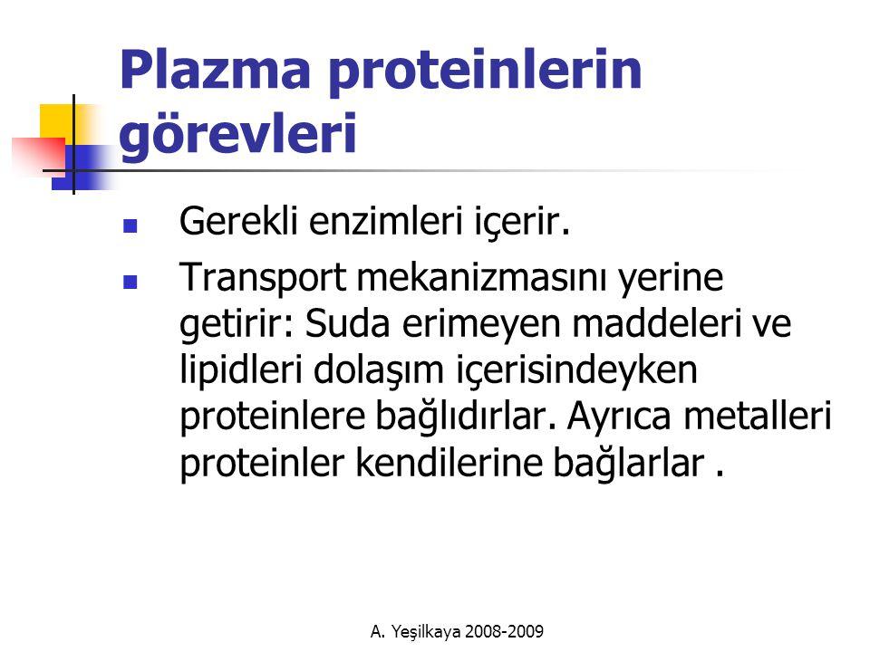A.Yeşilkaya 2008-2009 Plazma proteinlerin görevleri  Gerekli enzimleri içerir.