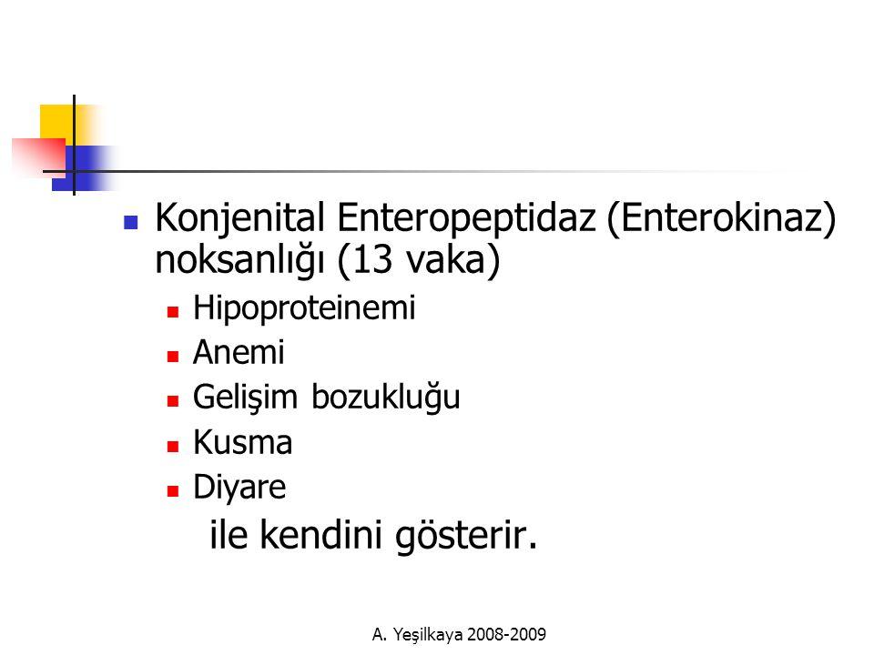  Konjenital Enteropeptidaz (Enterokinaz) noksanlığı (13 vaka)  Hipoproteinemi  Anemi  Gelişim bozukluğu  Kusma  Diyare ile kendini gösterir.