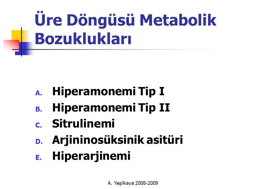 Üre Döngüsü Metabolik Bozuklukları A.Hiperamonemi Tip I B.