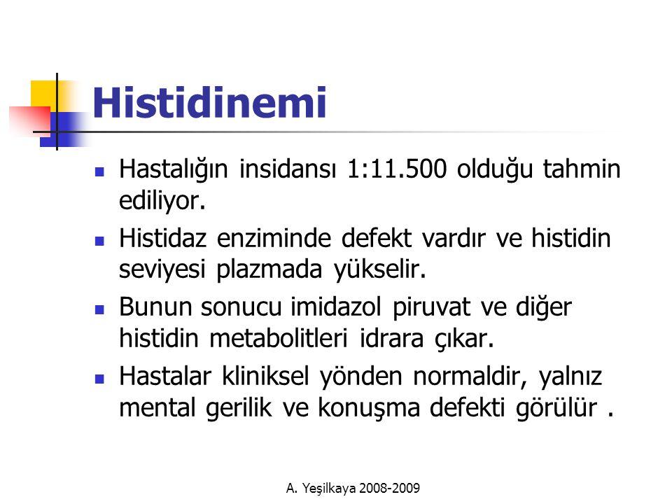 A.Yeşilkaya 2008-2009 Histidinemi  Hastalığın insidansı 1:11.500 olduğu tahmin ediliyor.