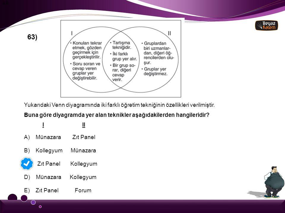63) Yukarıdaki Venn diyagramında iki farklı öğretim tekniğinin özellikleri verilmiştir. Buna göre diyagramda yer alan teknikler aşağıdakilerden hangi