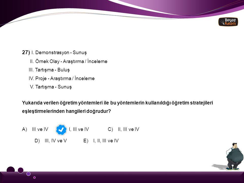 27) I. Demonstrasyon - Sunuş II. Örnek Olay - Araştırma / İnceleme III. Tartışma - Buluş IV. Proje - Araştırma / İnceleme V. Tartışma - Sunuş Yukarıda
