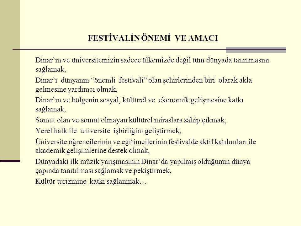 """FESTİVALİN ÖNEMİ VE AMACI Dinar'ın ve üniversitemizin sadece ülkemizde değil tüm dünyada tanınmasını sağlamak, Dinar'ı dünyanın """"önemli festivali"""" ola"""