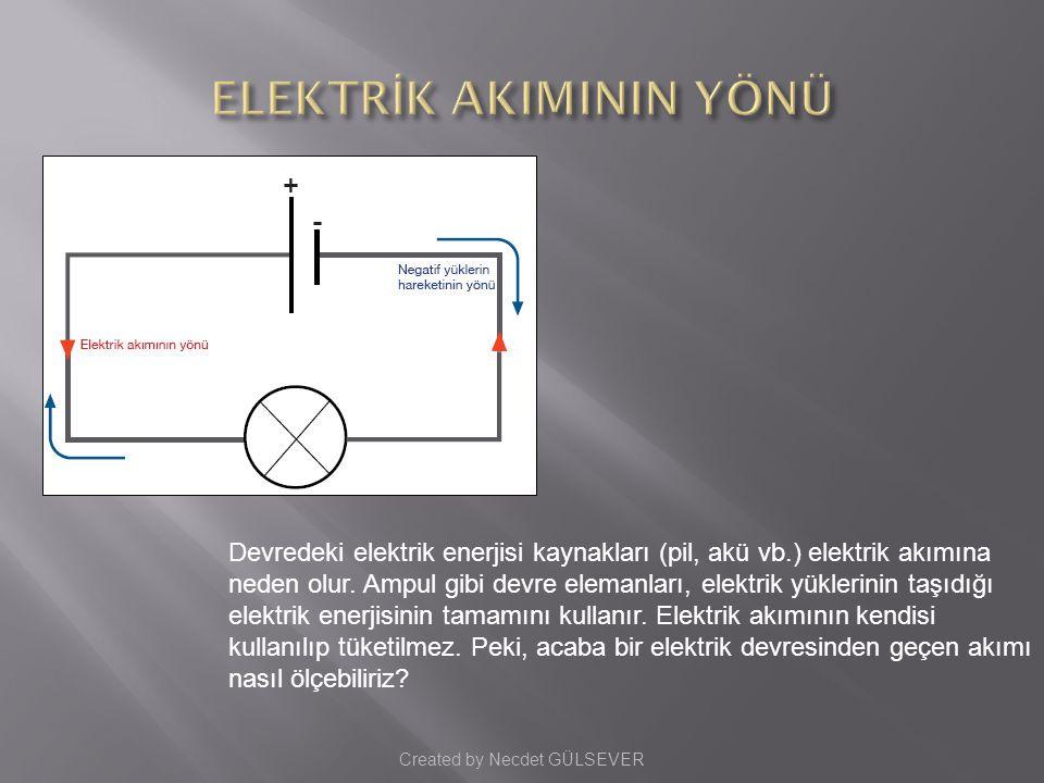 Devredeki elektrik enerjisi kaynakları (pil, akü vb.) elektrik akımına neden olur.