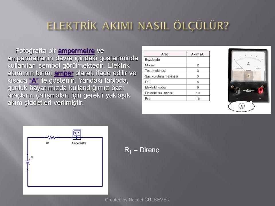 Fotoğrafta bir ampermetre ve ampermetrenin devre içindeki gösteriminde kullanılan sembol görülmektedir.