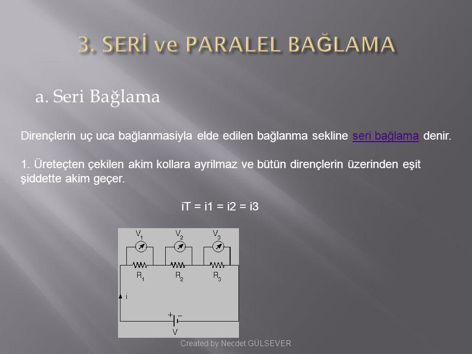 a.Seri Bağlama Dirençlerin uç uca bağlanmasiyla elde edilen bağlanma sekline seri bağlama denir.