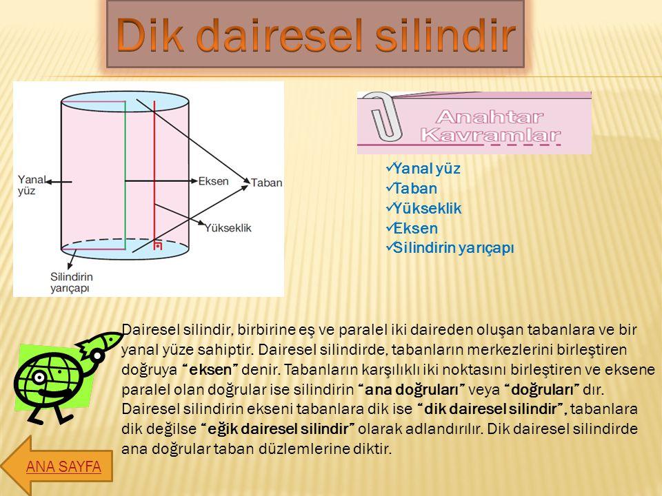 Dairesel silindir, birbirine eş ve paralel iki daireden oluşan tabanlara ve bir yanal yüze sahiptir. Dairesel silindirde, tabanların merkezlerini birl