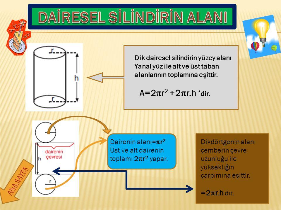 Dik dairesel silindirin yüzey alanı Yanal yüz ile alt ve üst taban alanlarının toplamına eşittir. A=2r 2 +2r.h ' dir. Dairenin alanı=r 2 Üst ve alt