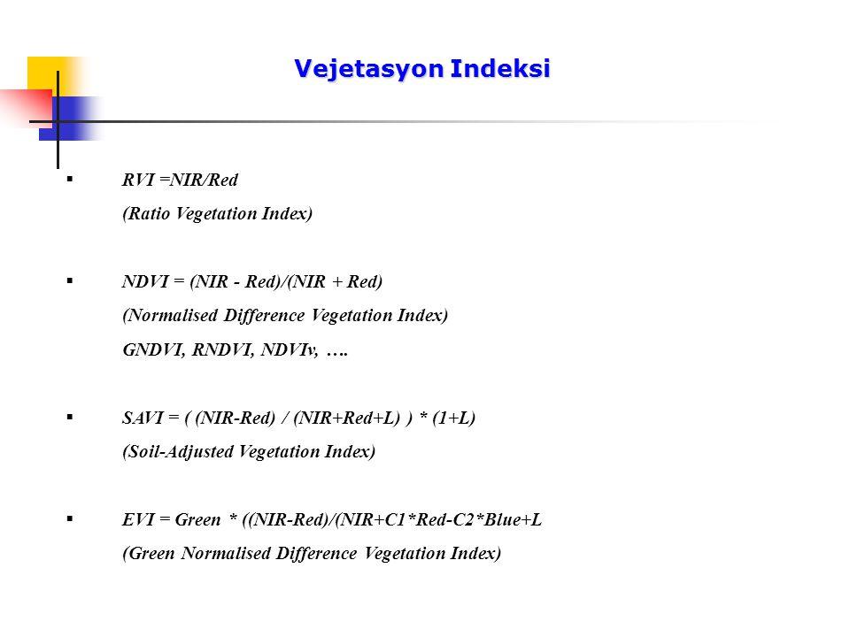 Vejetasyon Indeksi Vejetasyon Indeksi  RVI =NIR/Red (Ratio Vegetation Index)  NDVI = (NIR - Red)/(NIR + Red) (Normalised Difference Vegetation Index