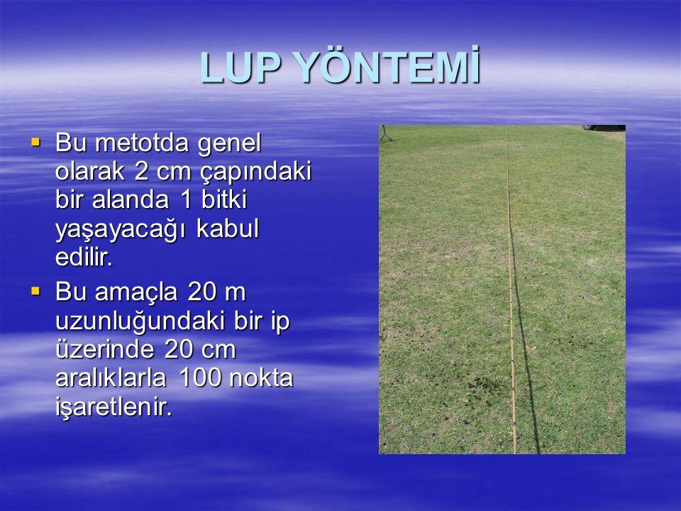 LUP YÖNTEMİ  Bu metotda genel olarak 2 cm çapındaki bir alanda 1 bitki yaşayacağı kabul edilir.  Bu amaçla 20 m uzunluğundaki bir ip üzerinde 20 cm