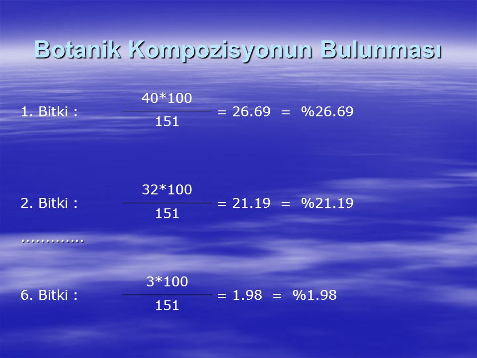 Botanik Kompozisyonun Bulunması 1. Bitki : 40*100 = 26.69 = %26.69 151 2. Bitki : 32*100 = 21.19 = %21.19 151............. 6. Bitki : 3*100 = 1.98 = %