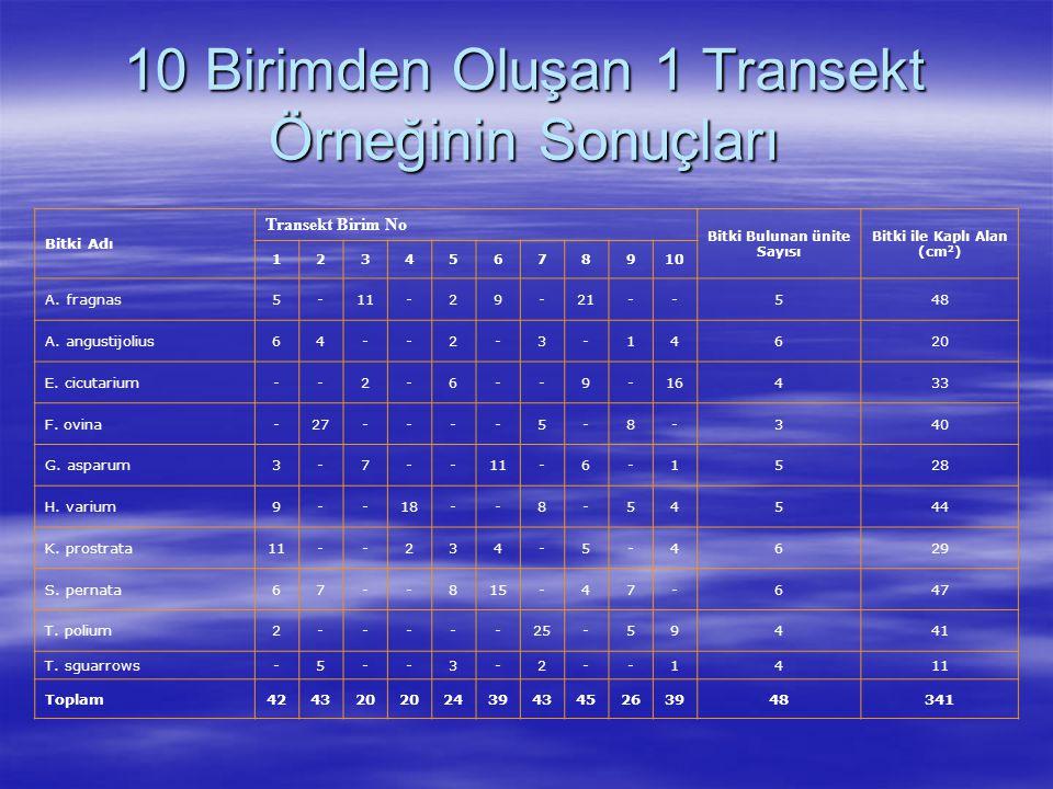 10 Birimden Oluşan 1 Transekt Örneğinin Sonuçları Bitki Adı Transekt Birim No Bitki Bulunan ünite Sayısı Bitki ile Kaplı Alan (cm 2 ) 12345678910 A. f