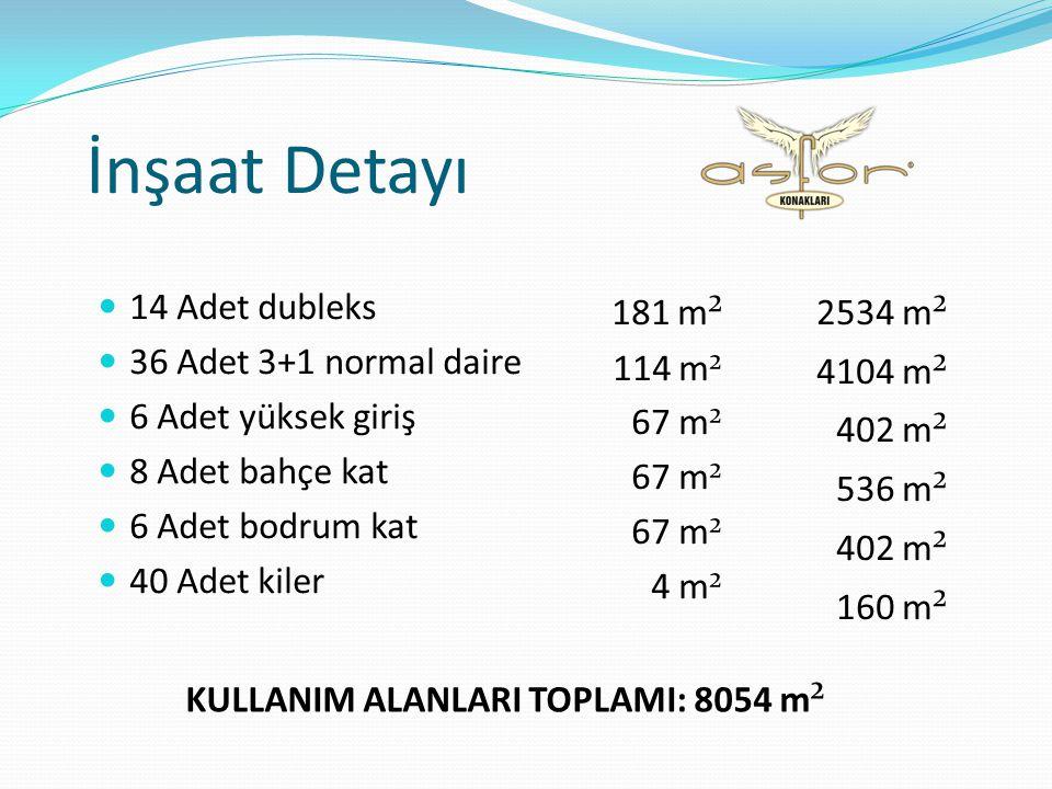 İnşaat Detayı  14 Adet dubleks  36 Adet 3+1 normal daire  6 Adet yüksek giriş  8 Adet bahçe kat  6 Adet bodrum kat  40 Adet kiler 181 m ² 114 m