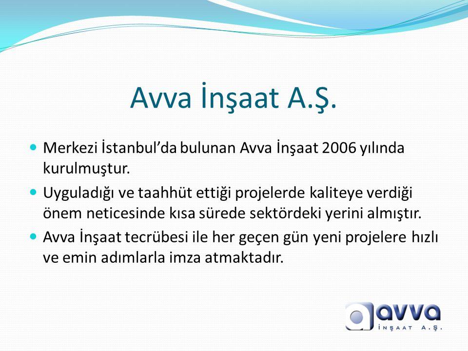 Avva İnşaat A.Ş.  Merkezi İstanbul'da bulunan Avva İnşaat 2006 yılında kurulmuştur.  Uyguladığı ve taahhüt ettiği projelerde kaliteye verdiği önem n