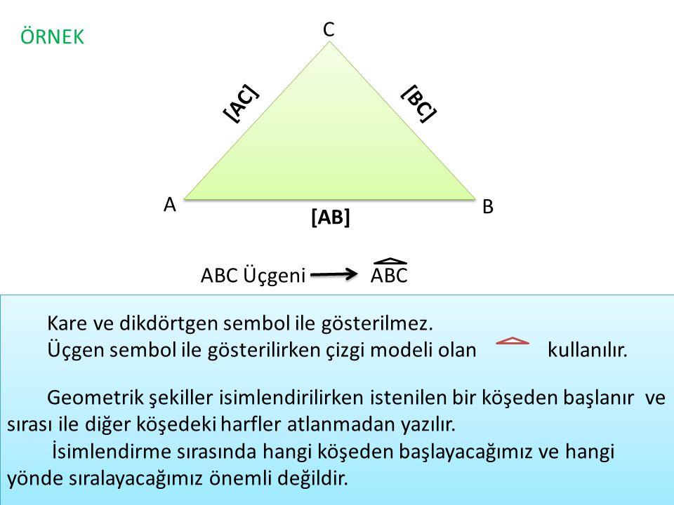 ÖRNEK C A B [AB] [BC] [AC] ABC ÜçgeniABC Kare ve dikdörtgen sembol ile gösterilmez. Üçgen sembol ile gösterilirken çizgi modeli olan kullanılır. Geome