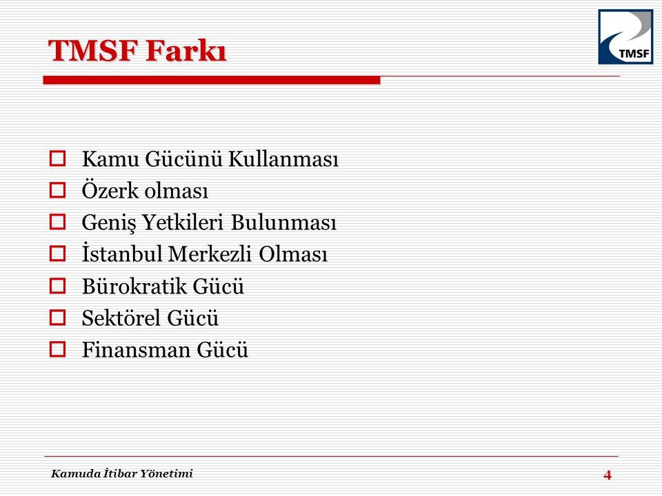 TMSF Farkı  Kamu Gücünü Kullanması  Özerk olması  Geniş Yetkileri Bulunması  İstanbul Merkezli Olması  Bürokratik Gücü  Sektörel Gücü  Finansma