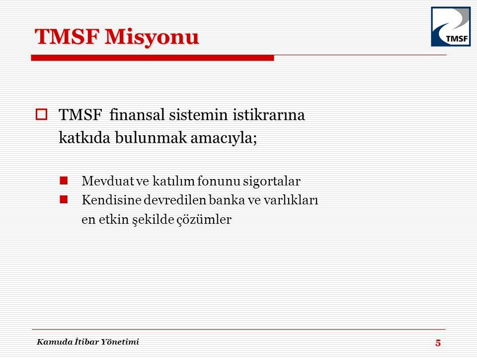 TMSF Misyonu  TMSF finansal sistemin istikrarına katkıda bulunmak amacıyla;  Mevduat ve katılım fonunu sigortalar  Kendisine devredilen banka ve va