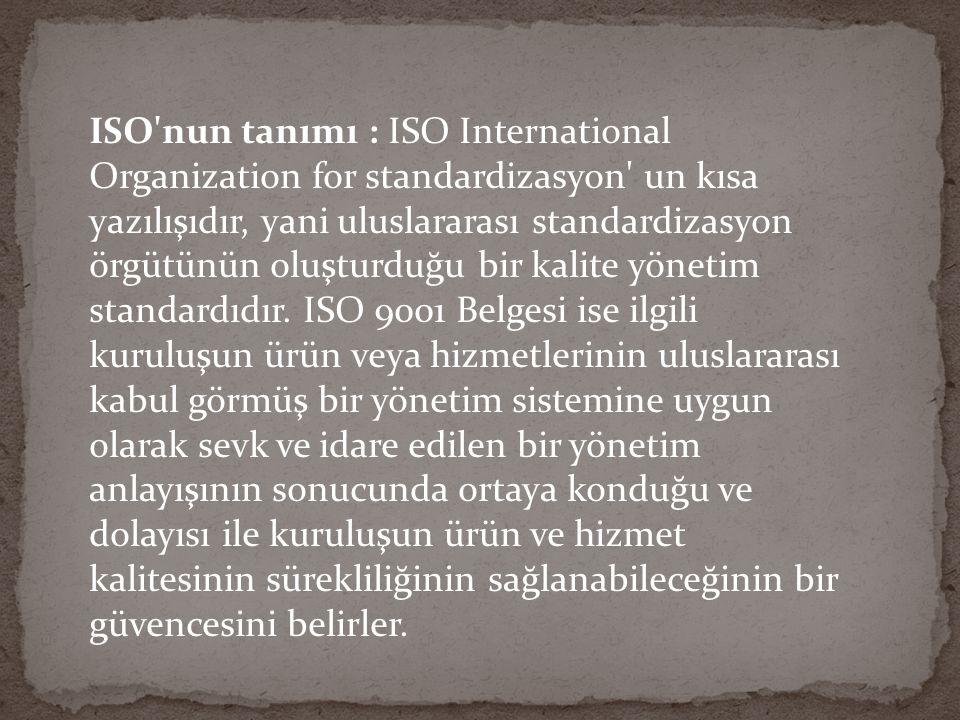 TSE VE ISO TÜRK STANDARTLARI ENSTİTÜSÜ ( TSE ) Türk Standartları Enstitüsü 132 sayılı kuruluş yasası ile kendisine verilen standartlara uygun ve kaliteli üretimi teşvik edecek her türlü çalışmayı yapmak ve bunlarla ilgili belgeleri düzenlemek görevini yerine getirirken standardizasyonun yanı sıra kalite konusuna da eğilmiş ve bu alanda yürüttüğü çalışmalar son yıllarda özel bir önem ve yoğunluk kazanmıştır.
