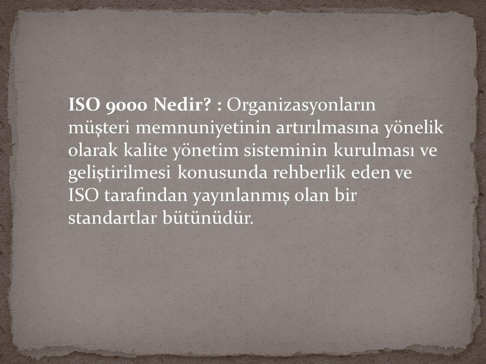TS EN ISO 9001:2008 standardı şu bölümlerden oluşmaktadır: 1.KAPSAM 2.ATIF YAPILAN STANDARTLAR 3.TERİMLER VE TARİFLER 4.KALİTE YÖNETİM SİSTEMİ 4.1 GENEL ŞARTLAR 4.2 DOKÜMANTASYON ŞARTLARI 5.YÖNETİM SORUMLULUĞU 5.1 YÖNETİMİN TAAHHÜDÜ 5.2 MÜŞTERİ ODAKLILIK 5.3 KALİTE POLİTİKASI 5.4 PLANLAMA 5.5 SORUMLULUK, YETKİ VE İLETİŞİM 5.6 YÖNETİMİN GÖZDEN GEÇİRMESİ