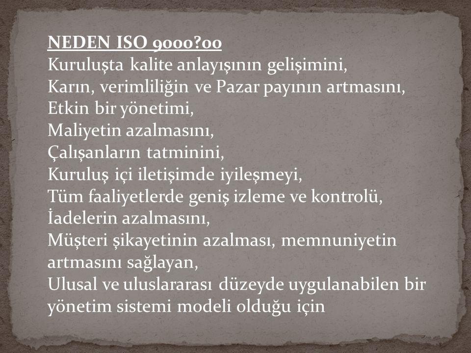 ISO 9001 Belgesinin Kullanım Faydaları : ISO 9001ISO 9001 belgesi çok sayıda müşteri tarafından istenmektedir.