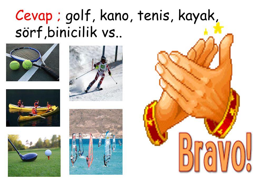 Cevap ; golf, kano, tenis, kayak, sörf,binicilik vs..
