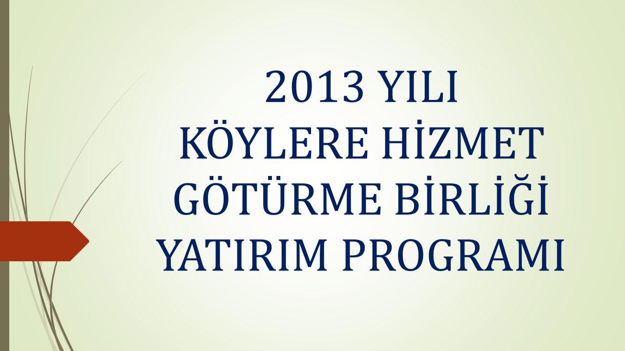 2013 YILI KÖYLERE HİZMET GÖTÜRME BİRLİĞİ YATIRIM PROGRAMI