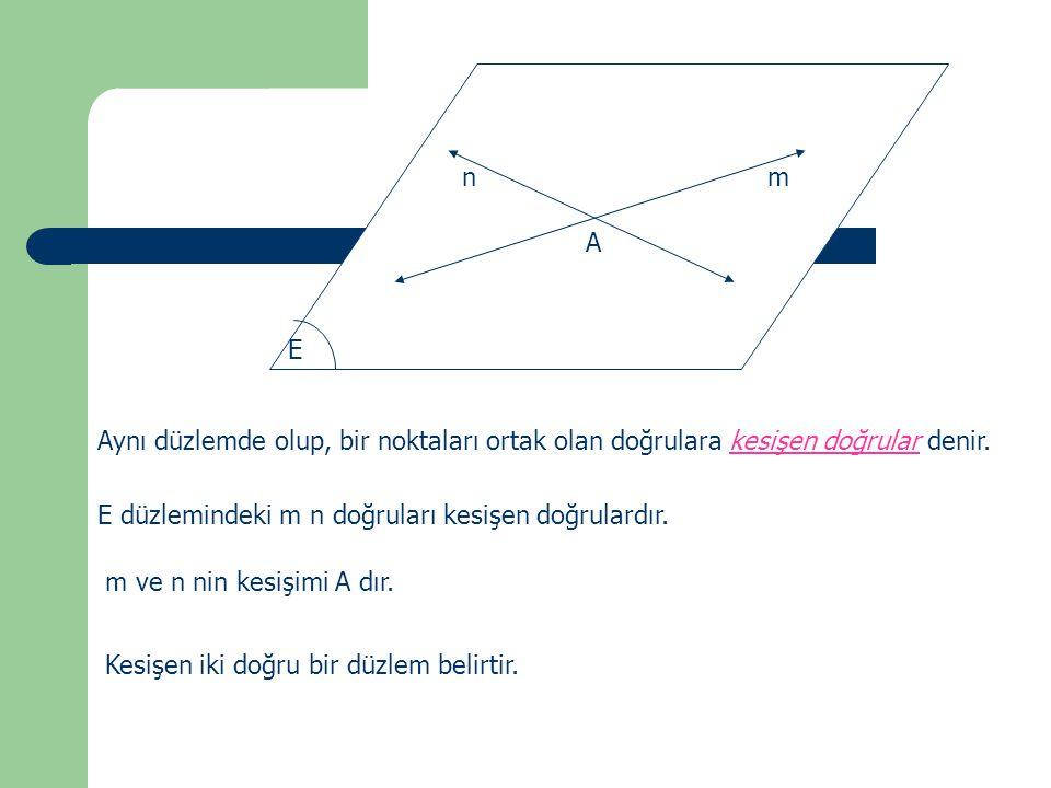 mn A E Aynı düzlemde olup, bir noktaları ortak olan doğrulara kesişen doğrular denir. E düzlemindeki m n doğruları kesişen doğrulardır. m ve n nin kes