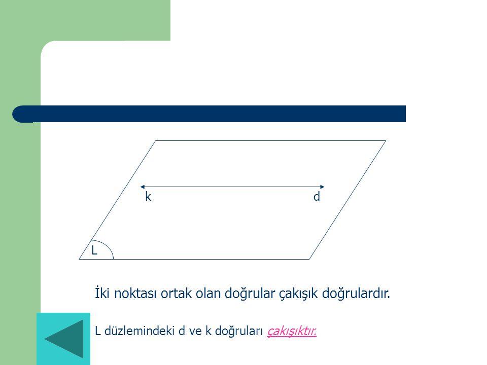 kd L İki noktası ortak olan doğrular çakışık doğrulardır. L düzlemindeki d ve k doğruları çakışıktır.