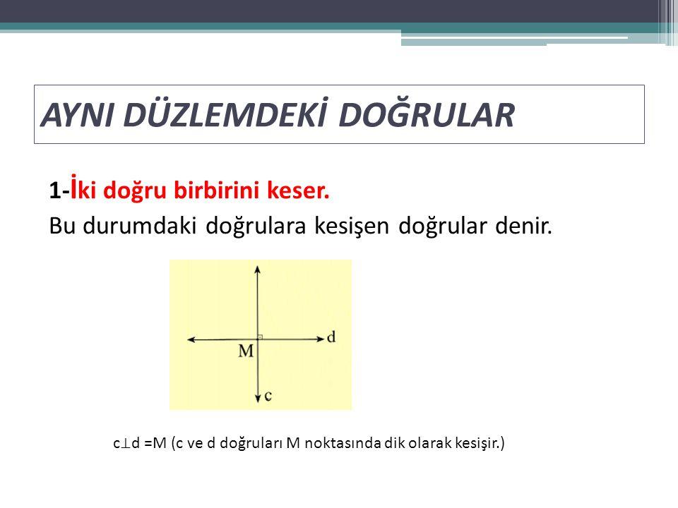 AYNI DÜZLEMDEKİ DOĞRULAR 1- İ ki doğru birbirini keser. Bu durumdaki doğrulara kesişen doğrular denir. c ⊥ d =M (c ve d doğruları M noktasında dik ola
