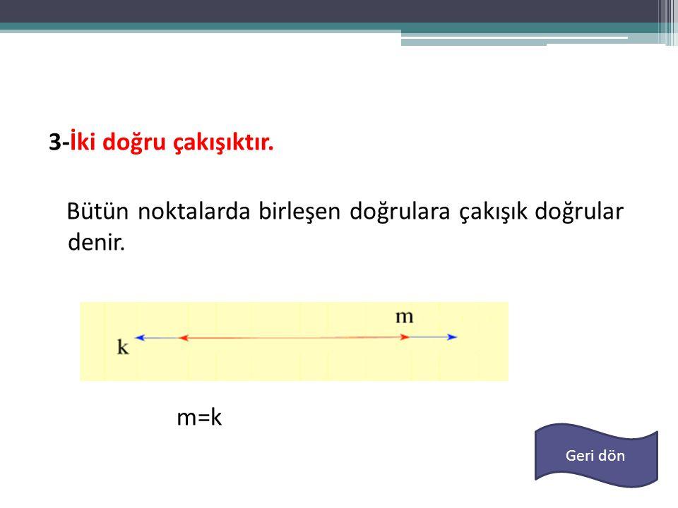 3-İki doğru çakışıktır. Bütün noktalarda birleşen doğrulara çakışık doğrular denir. m=k Geri dön