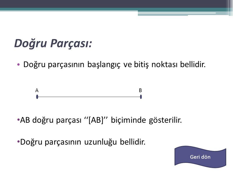 Doğru Parçası: • Doğru parçasının başlangıç ve bitiş noktası bellidir. • AB doğru parçası ''[AB]'' biçiminde gösterilir. • Doğru parçasının uzunluğu b