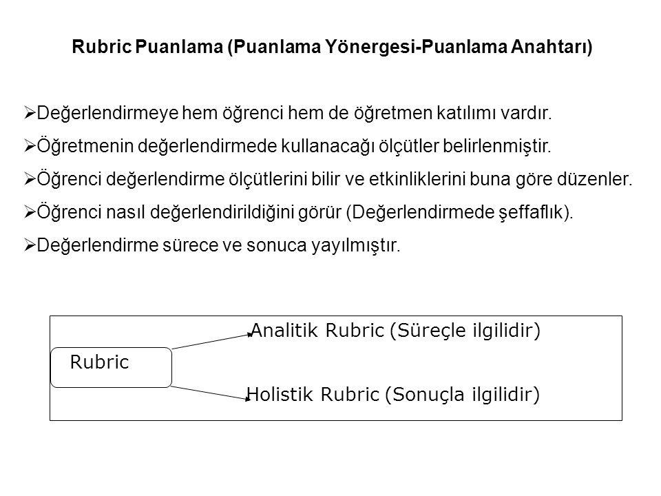 Rubric Puanlama (Puanlama Yönergesi-Puanlama Anahtarı)  Değerlendirmeye hem öğrenci hem de öğretmen katılımı vardır.  Öğretmenin değerlendirmede kul