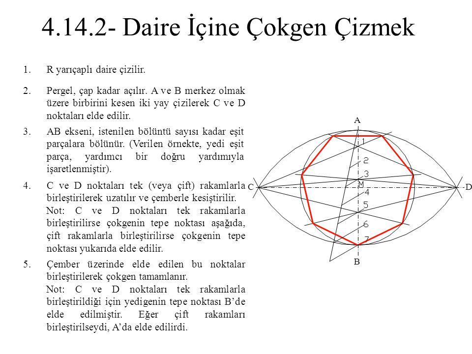 1.R yarıçaplı daire çizilir. 2.Pergel, çap kadar açılır. A ve B merkez olmak üzere birbirini kesen iki yay çizilerek C ve D noktaları elde edilir. 3.A