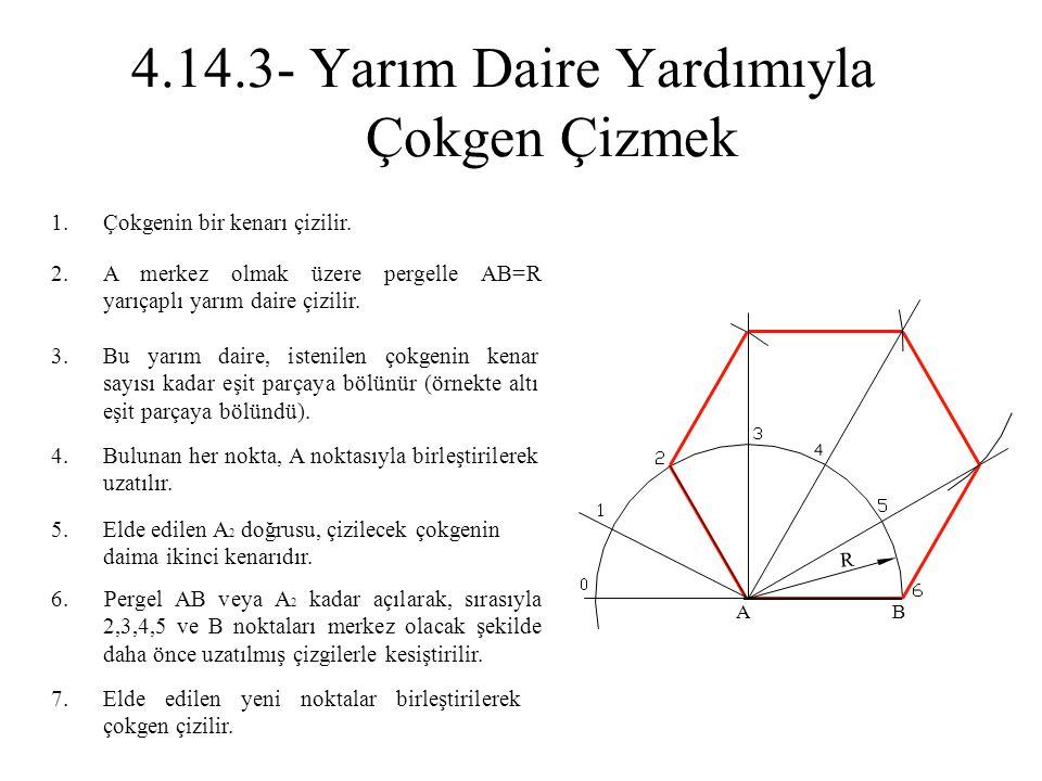 1.Çokgenin bir kenarı çizilir. 2.A merkez olmak üzere pergelle AB=R yarıçaplı yarım daire çizilir. 3.Bu yarım daire, istenilen çokgenin kenar sayısı k