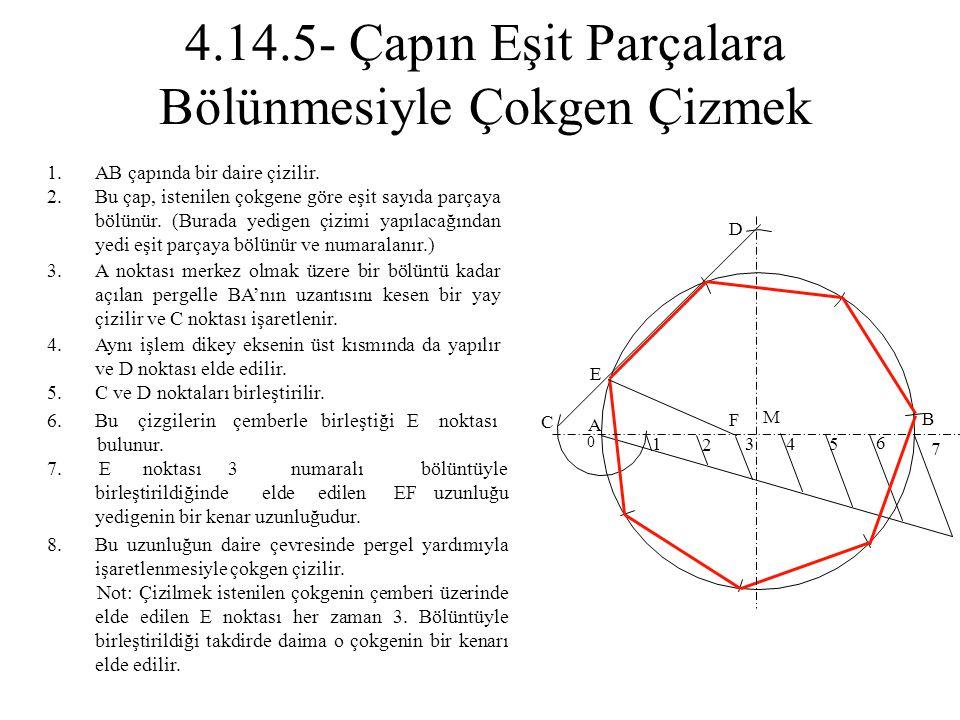 1.AB çapında bir daire çizilir. 2.Bu çap, istenilen çokgene göre eşit sayıda parçaya bölünür. (Burada yedigen çizimi yapılacağından yedi eşit parçaya