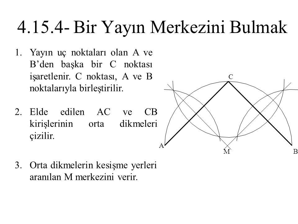 1.Yayın uç noktaları olan A ve B'den başka bir C noktası işaretlenir. C noktası, A ve B noktalarıyla birleştirilir. 2.Elde edilen AC ve CB kirişlerini
