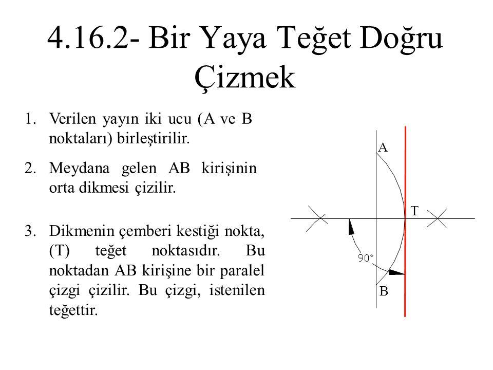 1.Verilen yayın iki ucu (A ve B noktaları) birleştirilir. 2.Meydana gelen AB kirişinin orta dikmesi çizilir. 3.Dikmenin çemberi kestiği nokta, (T) teğ