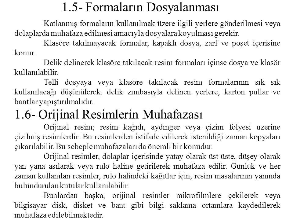 1.5- Formaların Dosyalanması Katlanmış formaların kullanılmak üzere ilgili yerlere gönderilmesi veya dolaplarda muhafaza edilmesi amacıyla dosyalara k