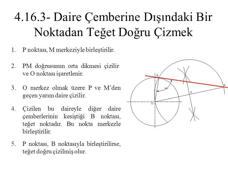 1.P noktası, M merkeziyle birleştirilir. 2.PM doğrusunun orta dikmesi çizilir ve O noktası işaretlenir. 3.O merkez olmak üzere P ve M'den geçen yarım