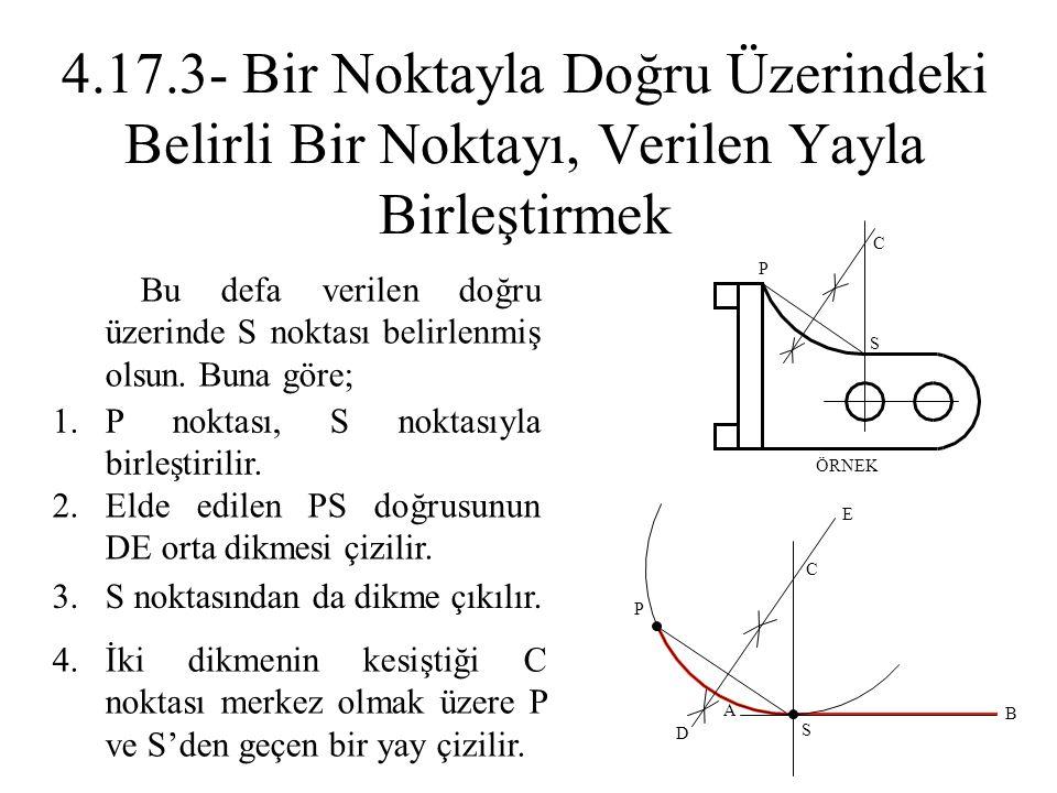 1.P noktası, S noktasıyla birleştirilir. 3.S noktasından da dikme çıkılır. 4.İki dikmenin kesiştiği C noktası merkez olmak üzere P ve S'den geçen bir