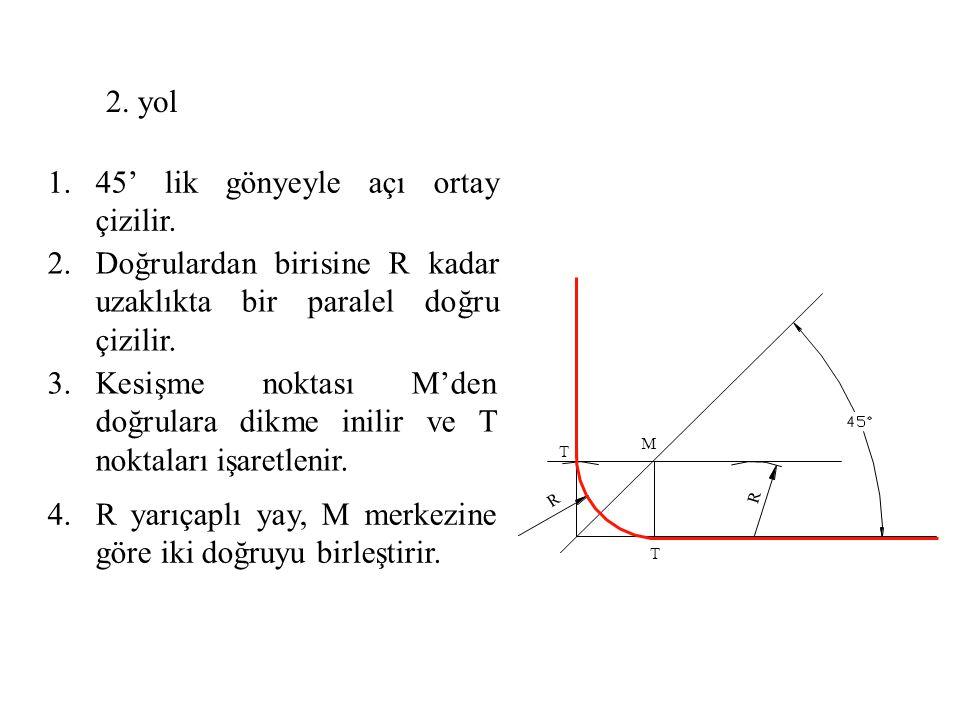 1.45' lik gönyeyle açı ortay çizilir. 2.Doğrulardan birisine R kadar uzaklıkta bir paralel doğru çizilir. 3.Kesişme noktası M'den doğrulara dikme inil