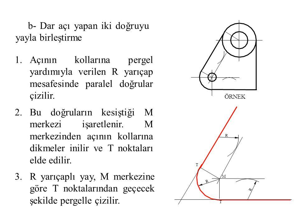 1.Açının kollarına pergel yardımıyla verilen R yarıçap mesafesinde paralel doğrular çizilir. 2.Bu doğruların kesiştiği M merkezi işaretlenir. M merkez