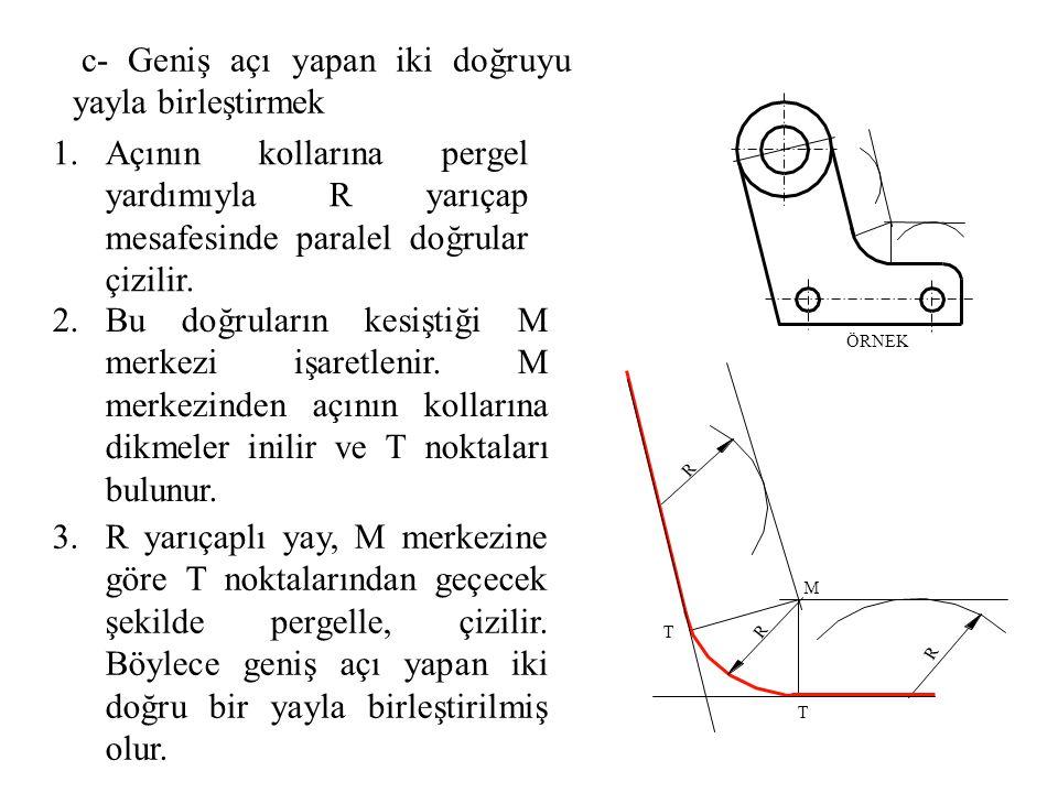 1.Açının kollarına pergel yardımıyla R yarıçap mesafesinde paralel doğrular çizilir. 2.Bu doğruların kesiştiği M merkezi işaretlenir. M merkezinden aç