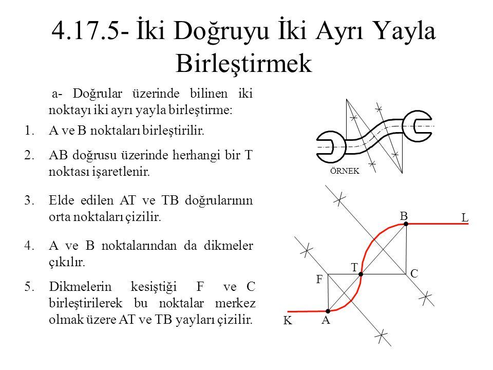1.A ve B noktaları birleştirilir. 2.AB doğrusu üzerinde herhangi bir T noktası işaretlenir. 3.Elde edilen AT ve TB doğrularının orta noktaları çizilir