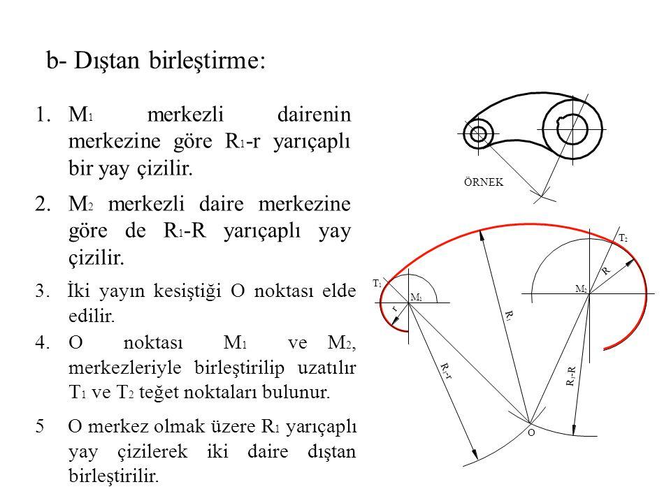 3. İki yayın kesiştiği O noktası elde edilir. 1.M 1 merkezli dairenin merkezine göre R 1 -r yarıçaplı bir yay çizilir. 4.O noktası M 1 ve M 2, merkezl