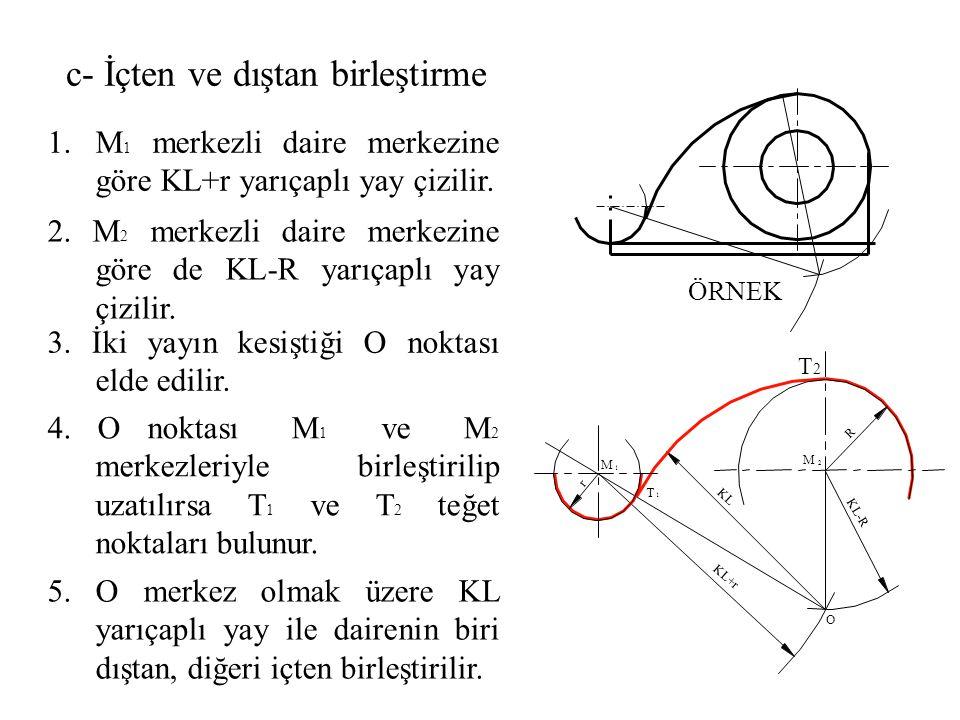 2. M 2 merkezli daire merkezine göre de KL-R yarıçaplı yay çizilir. 1.M 1 merkezli daire merkezine göre KL+r yarıçaplı yay çizilir. 3. İki yayın kesiş