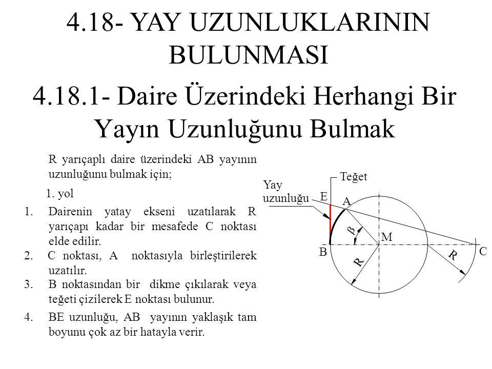 1. yol R yarıçaplı daire üzerindeki AB yayının uzunluğunu bulmak için; 1.Dairenin yatay ekseni uzatılarak R yarıçapı kadar bir mesafede C noktası elde
