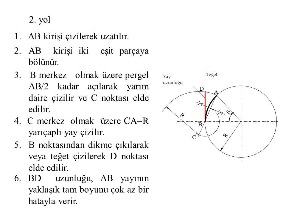 2.AB kirişi iki eşit parçaya bölünür. 1. AB kirişi çizilerek uzatılır. 3. B merkez olmak üzere pergel AB/2 kadar açılarak yarım daire çizilir ve C nok